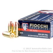 50 Rounds of 230gr FMJ .45 ACP Ammo by Fiocchi