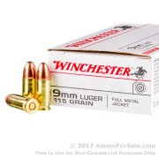 500  Rounds of 115gr FMJ 9mm Ammo by Winchester