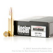 20 Rounds of 90gr AccuBond .243 Win Ammo by Nosler Ammunition