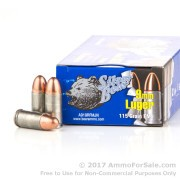 500  Rounds of 115gr FMJ 9mm Ammo by Silver Bear