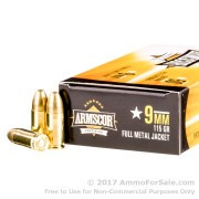 1000 Rounds of 115gr FMJ 9mm Ammo by Armscor