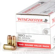 100 Rounds of 95gr FMJ .380 ACP Ammo by Winchester