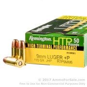 50 Rounds of 115gr JHP 9mm +P Ammo by Remington