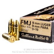 1000 Rounds of 124gr FMJ 9mm Ammo by Sellier & Bellot