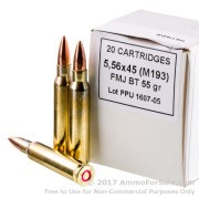 20 Rounds of 55gr FMJ 5.56x45 Ammo by Prvi Partizan