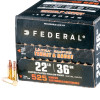 Close up of the 36gr on the 525 Rounds of 36gr CPHP 22 LR Ammo by Federal