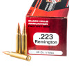 View of Black Hills Ammunition .223 ammo rounds