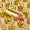 View of Blazer Brass 9mm ammo rounds