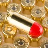 Close up of the 230gr on the 50 Rounds of 230gr Total Synthetic Jacket (TSJ) .45 ACP Ammo by Federal Syntech
