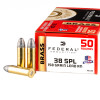 Close up of the 158gr on the 50 Rounds of 158gr LRN .38 Spl Ammo by Federal