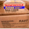 View of Winchester 9mm ammo rounds