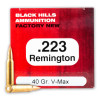 Close up of the 40gr on the 50 Rounds of 40gr V-MAX .223 Ammo by Black Hills Ammunition