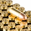 Close up of the 115gr on the 1000 Rounds of 115gr FMJ 9mm Ammo by PMC