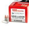 Close up of the 115gr on the 100 Rounds of 115gr FMJ RN 9mm Ammo by Federal