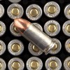 View of Silver Bear 9mm ammo rounds