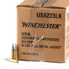 View of Winchester .223 ammo rounds