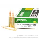200 Rounds of 55gr MC .223 Ammo by Remington UMC image